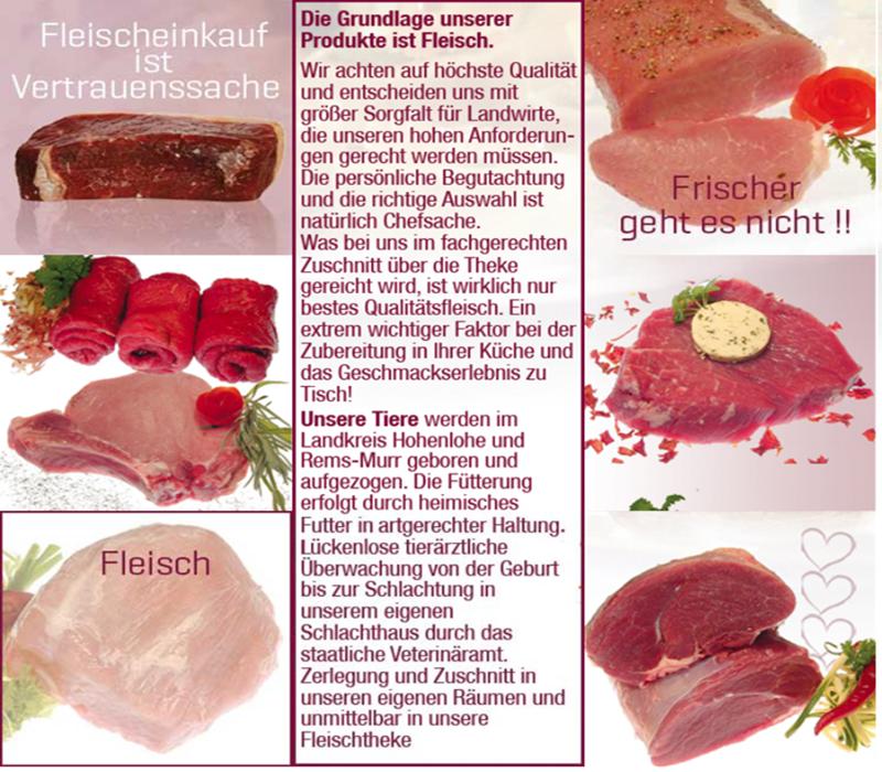 Fleisch von der Metzgerei Rupp-Holzwarth Rainer, Andreas Mueller Rems-Murr-Schwein